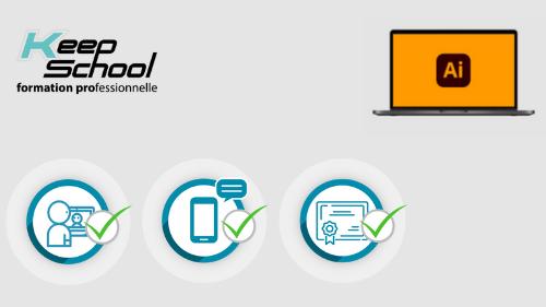Représentation de la formation : Illustrator préparation TOSA : 100% cours particuliers en visio (60h) + e-learning
