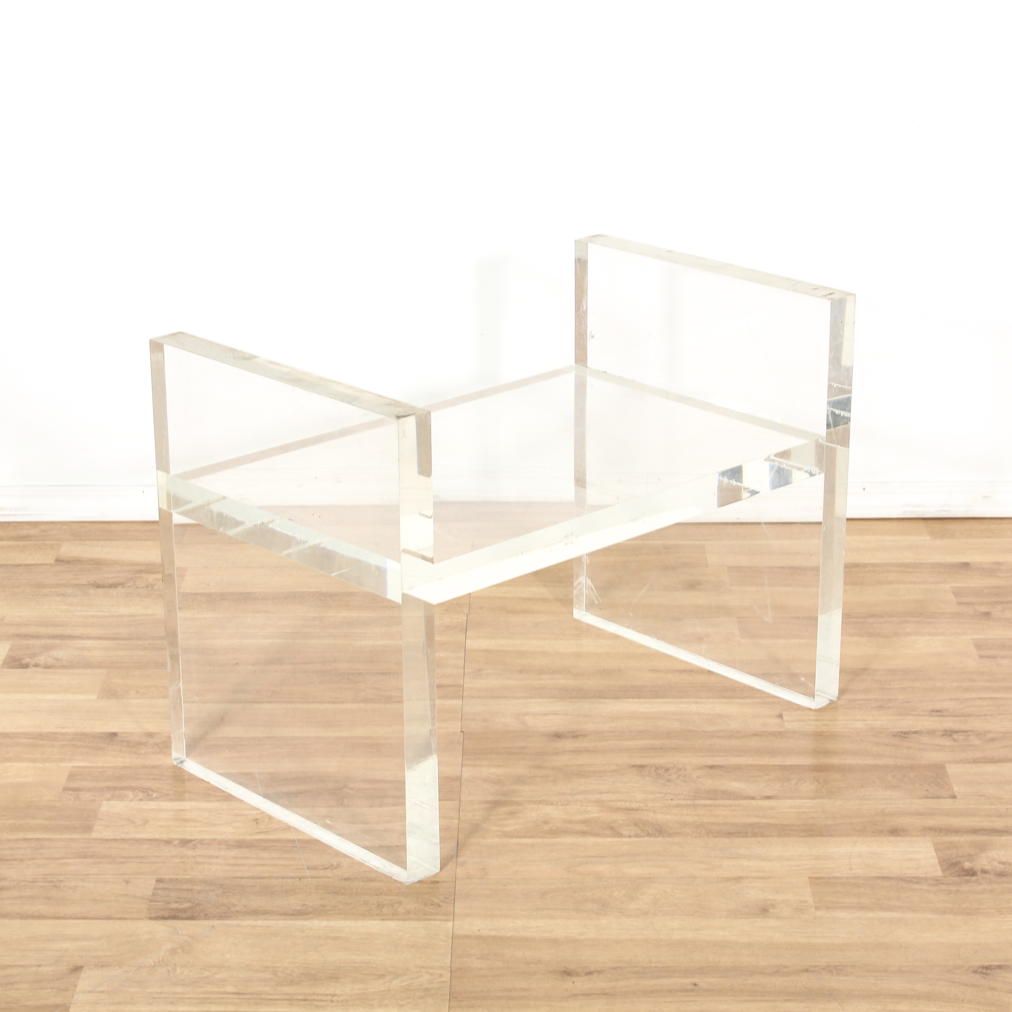 Modern Clear Acrylic Lucite Bench End Table Loveseat