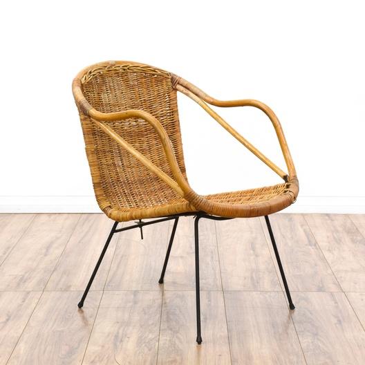 Woven Wicker Mid Century Modern Basket Chair Loveseat