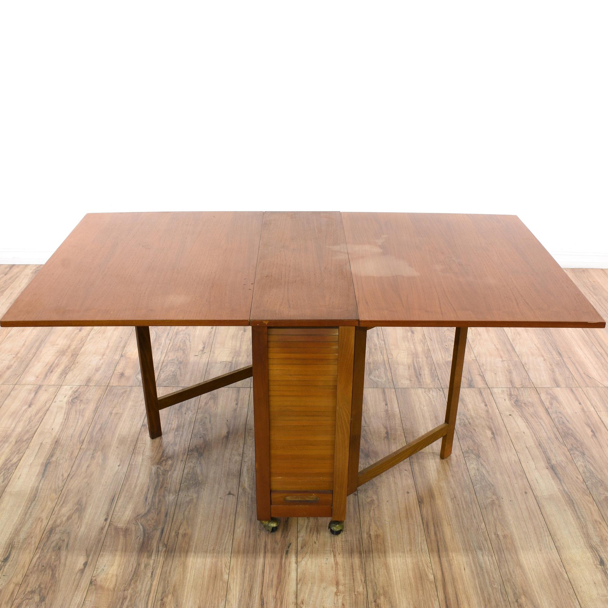 Drop Leaf Hideaway Dining Table 4 Folding Chairs Loveseat Vintage Fur