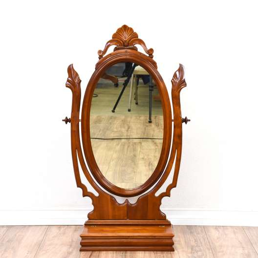 Carved Victorian Table Top Vanity Mirror