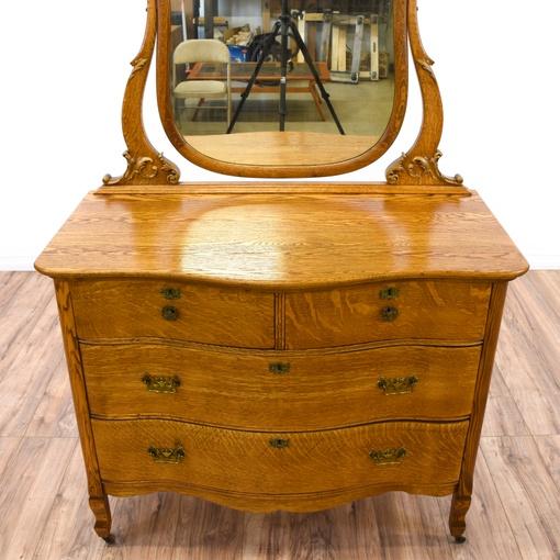 Antique Tiger Oak Dresser Vanity W Mirror Loveseat
