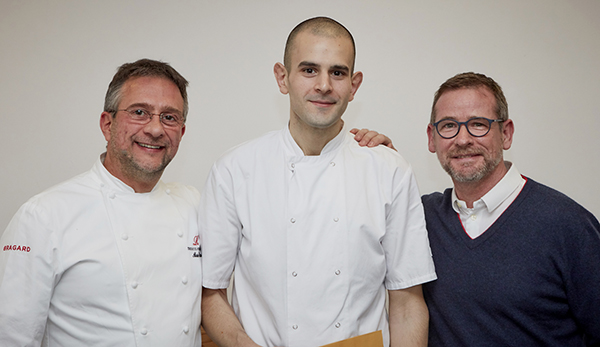 Carabott with Alain Roux and the late Andrew Fairlie, the first Roux Scholar (1984)