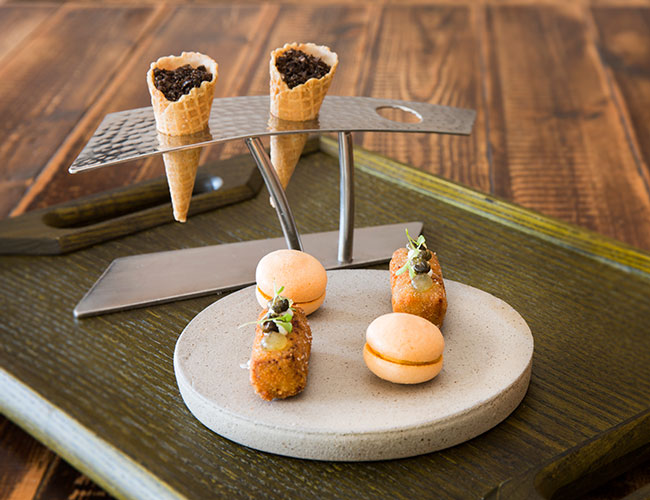 Canapes: lamb, mint, sheeps' milk; carrot, fennel, meringue; and onion, cream cheese, truffle on Zieher cone stands & bespoke side plate for House of Tides by 1265 Degrees North