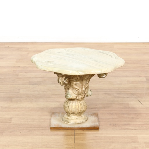 Marble And Carved Wood Accent Table: Italian Marble Top Carved Pedestal End Table