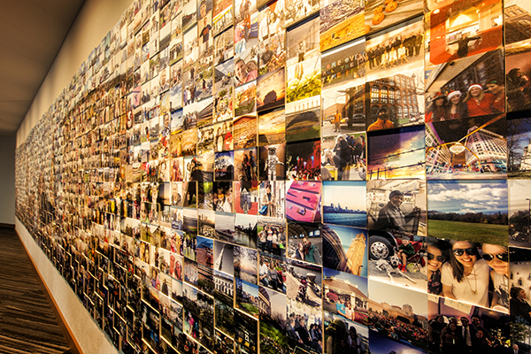 The selfie wall at Hotel Hilton Cleveland Downtow