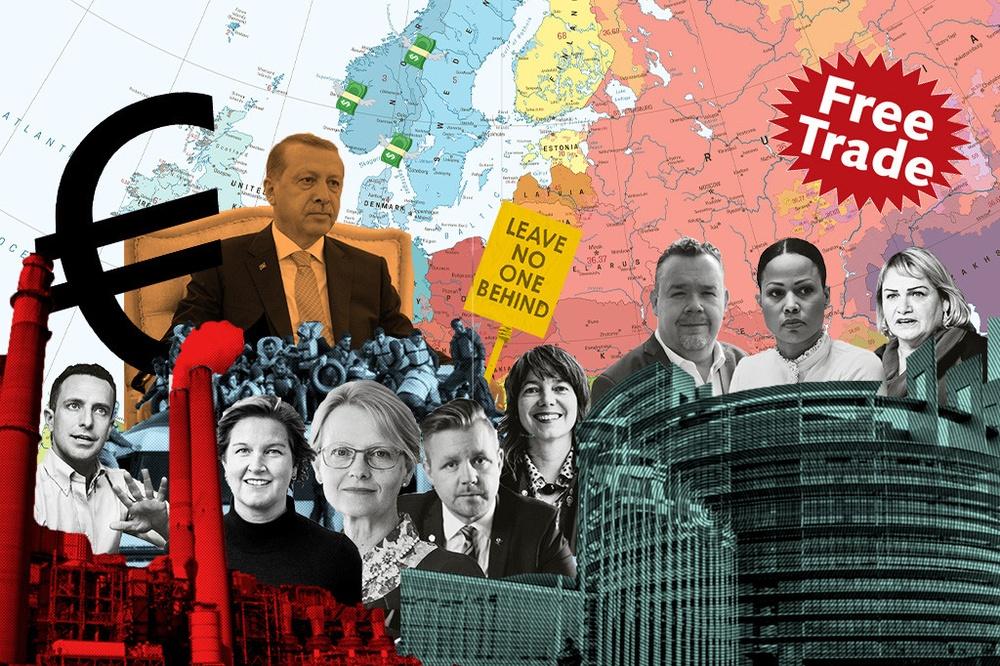 Kollage av alla toppkandidater till EU-valet, Erdogan, en karta av EU, kolkraftverk och ett märke som säger free trade.