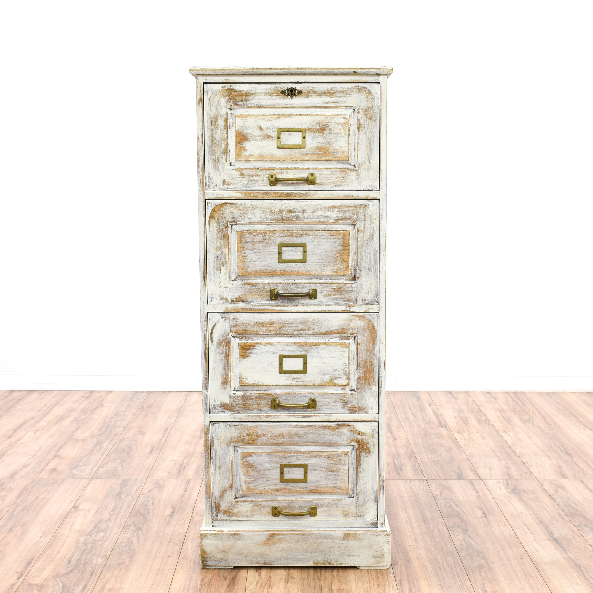 Distressed White Shabby Chic Filing Cabinet Loveseat