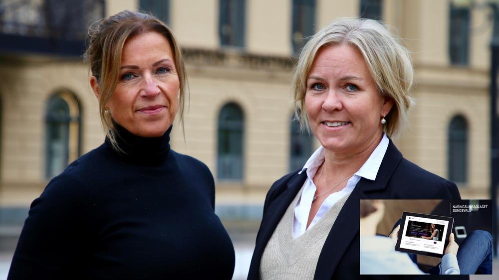 Eva Nyh Hederberg, vd Näringslivsbolaget och Anna Hedensjö Johansson, regionchef på Svenskt Näringsliv har stora förväntningar på den digitala tjänsten Företagscenter Sundsvall.