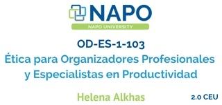 OD-ES-1-103 Español: Ética para Organizadores Profesionales y Especialistas en Productividad