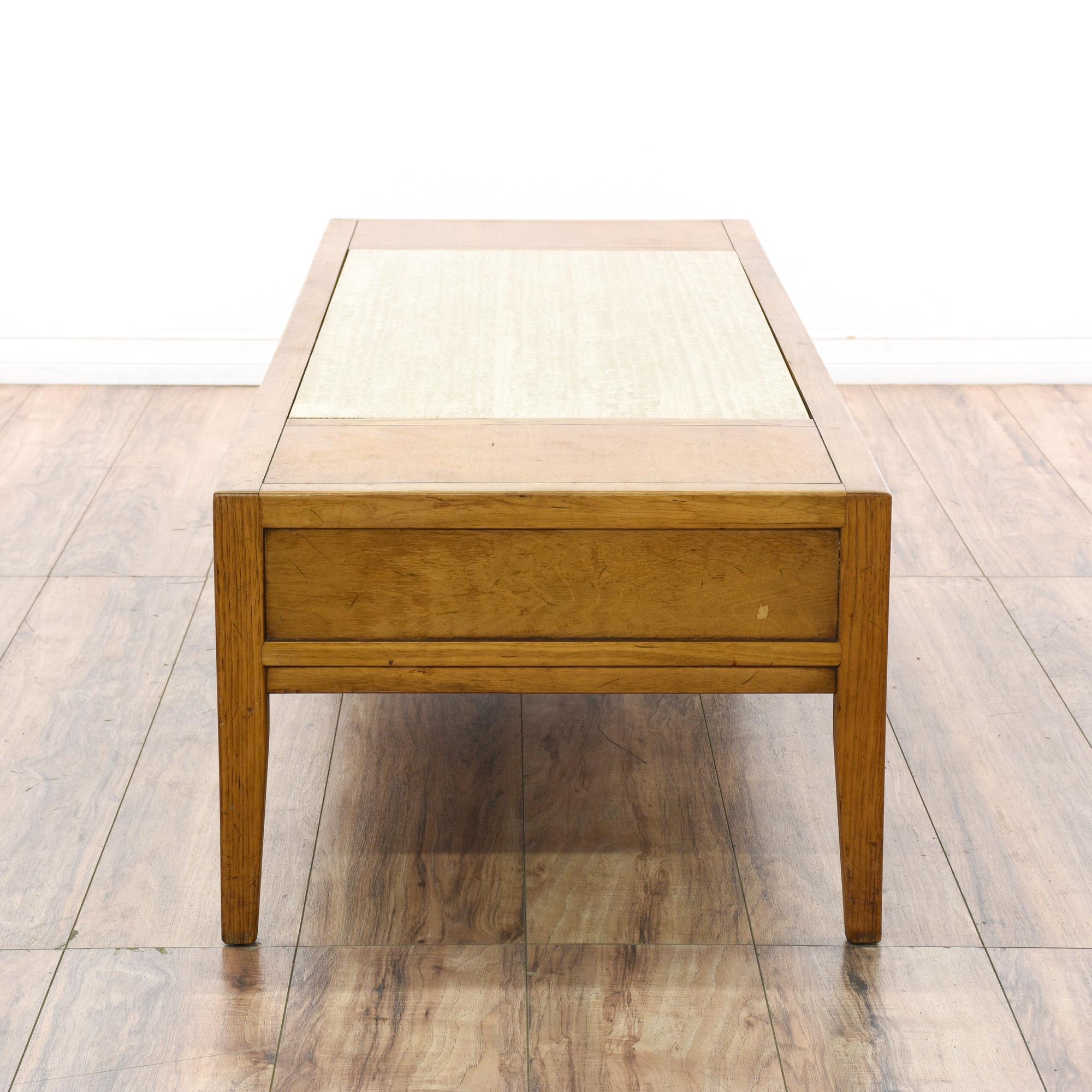 """Drexel"" Mid Century Coffee Table W/ Stone Top"
