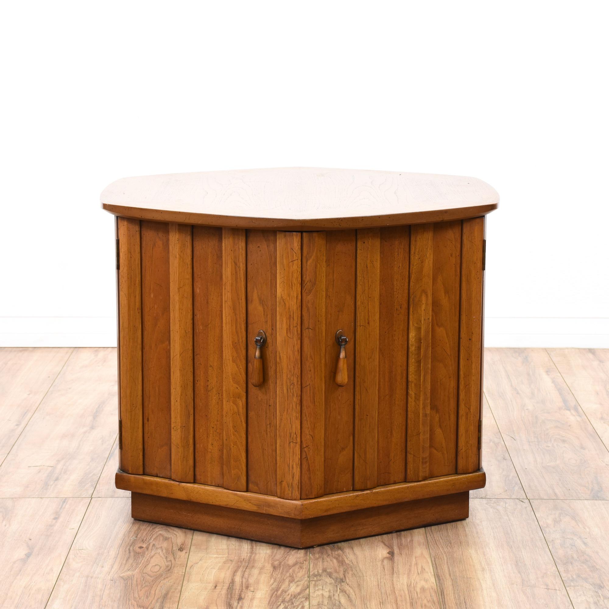 Mid Century Modern Hexagon End Table Cabinet Loveseat
