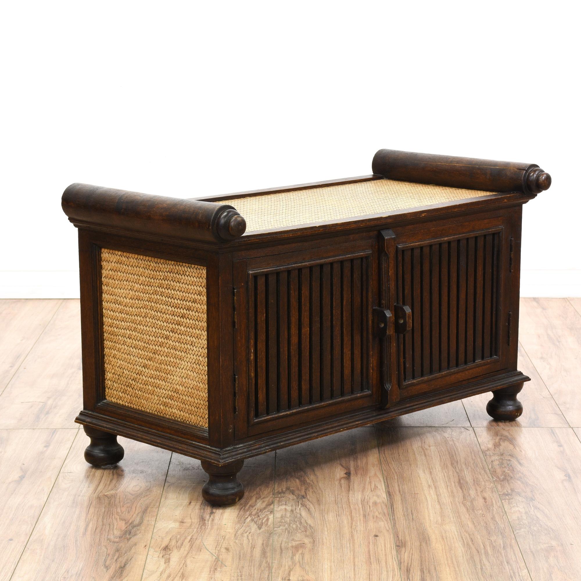 Wood Rattan Storage Bench Loveseat Vintage Furniture San
