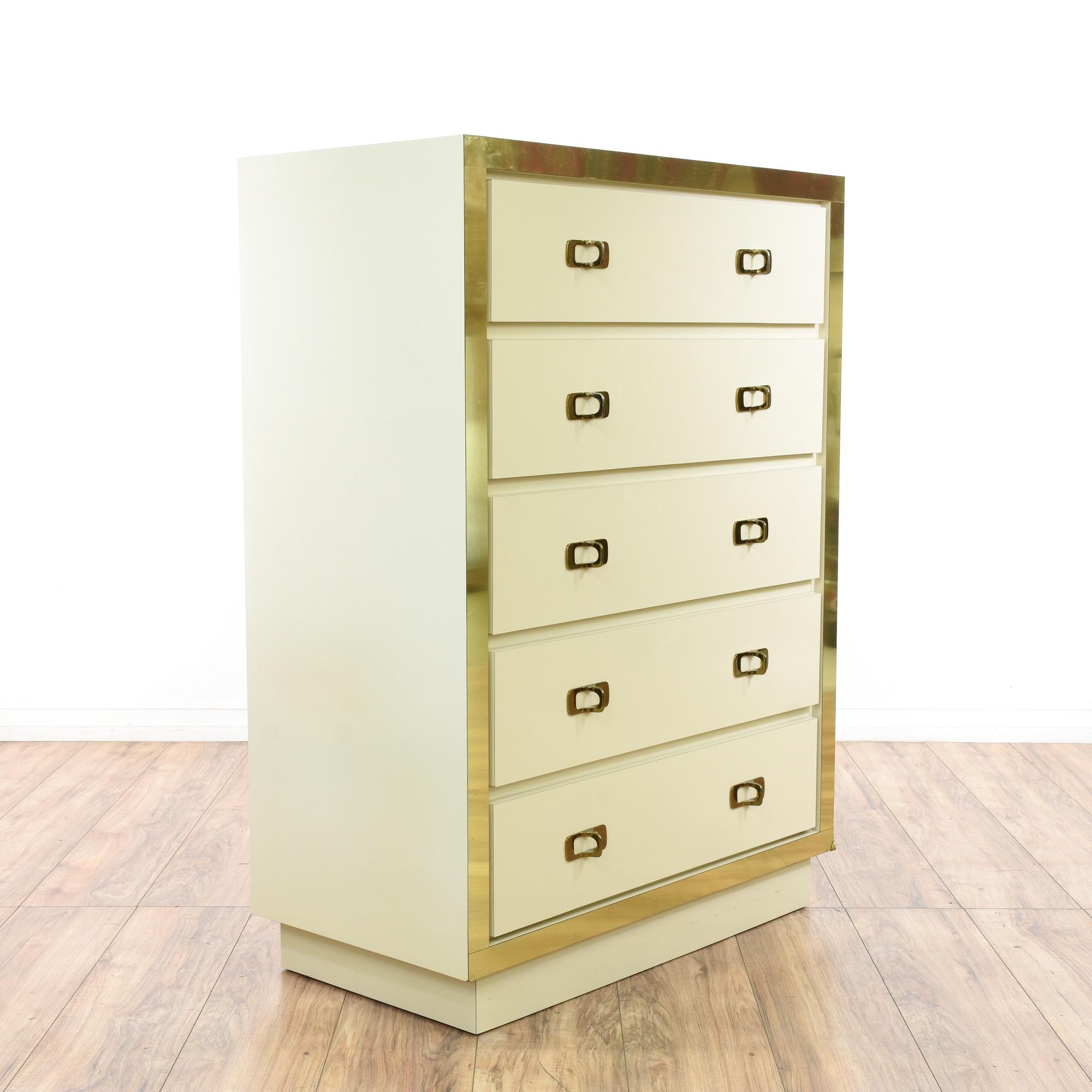 Regency Gold White Tall Dresser 2 Loveseat Vintage