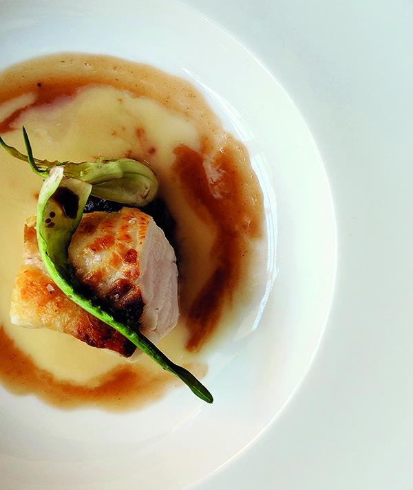 Sea: monkfish, miso, saffron mussel velouté
