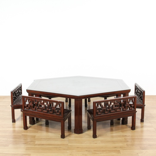 Peachy Chinese Rosewood Hexagon Table W 6 Bench Chairs Loveseat Gmtry Best Dining Table And Chair Ideas Images Gmtryco