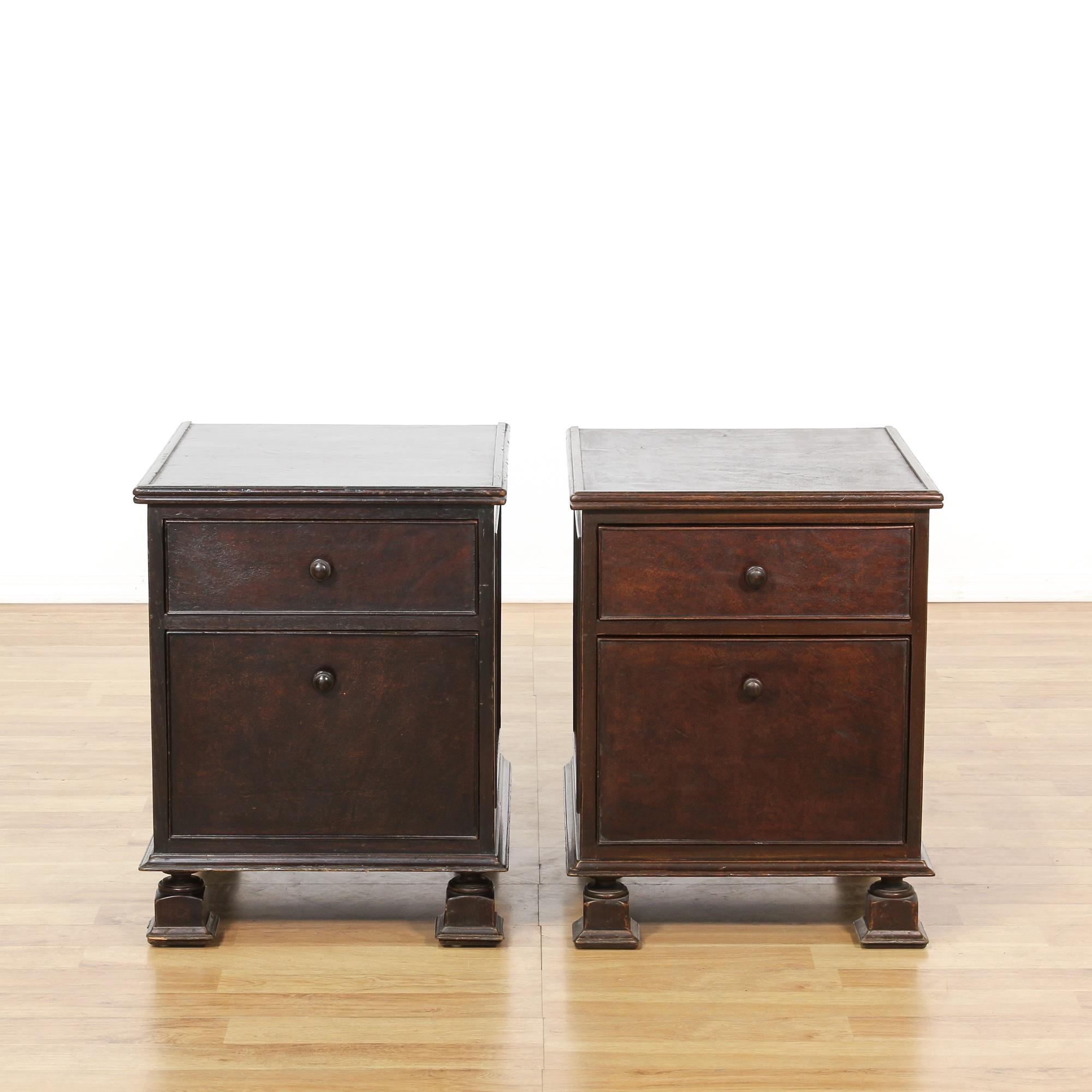 pair of south cone espresso nightstands loveseat vintage furniture san diego los angeles. Black Bedroom Furniture Sets. Home Design Ideas