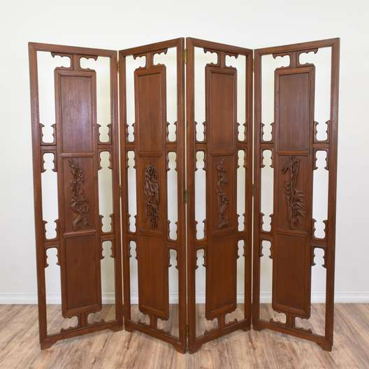 Carved Wood Asian Inspired Folding Screen