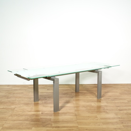 Contemporary Glass Top Metal Base Dining Table