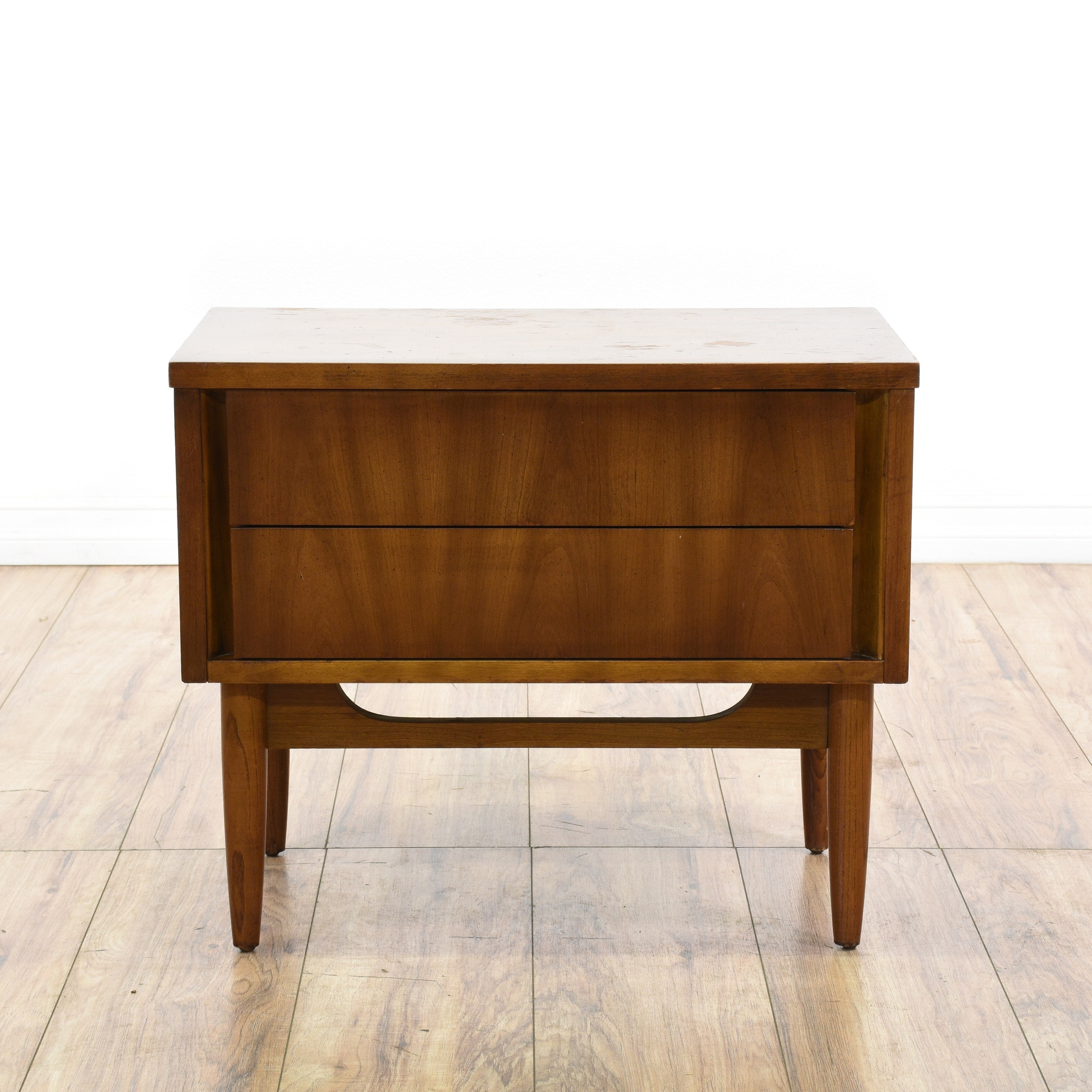 Dixie mid century modern walnut nightstand loveseat for Mid century modern furniture san francisco