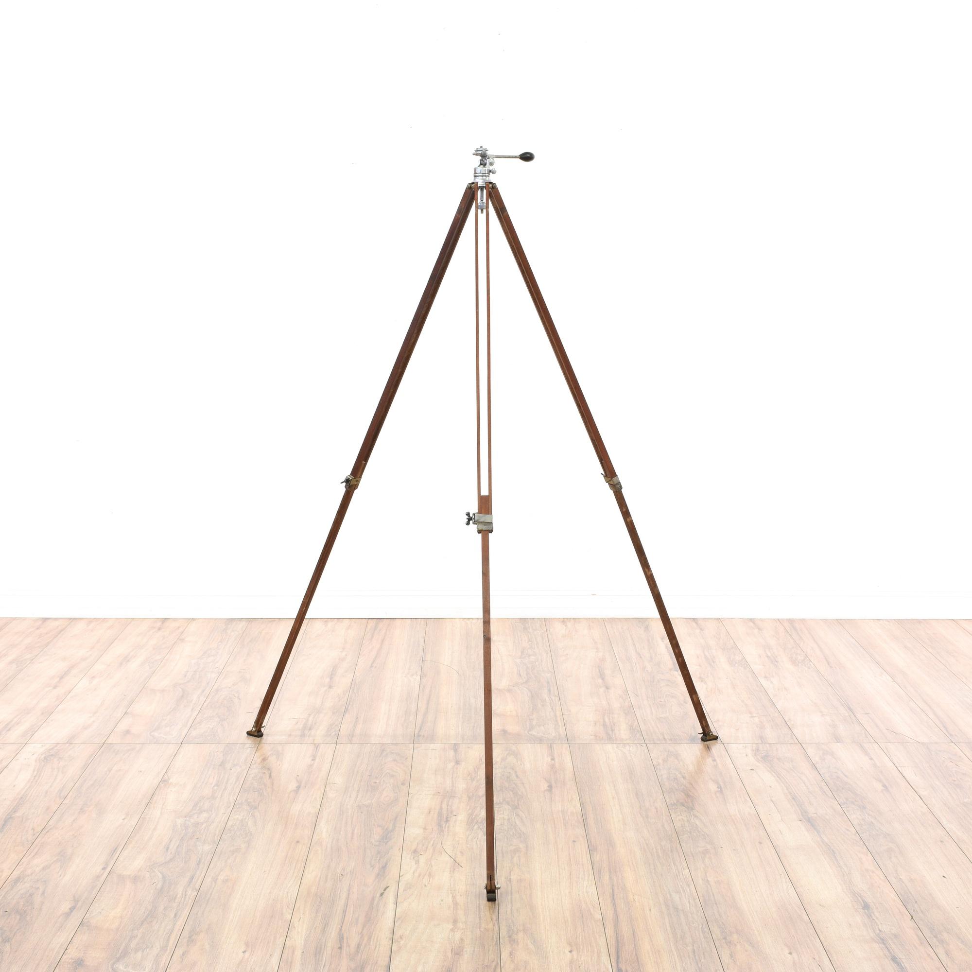 Folding Wood Camera Tripod Stand Loveseat Vintage