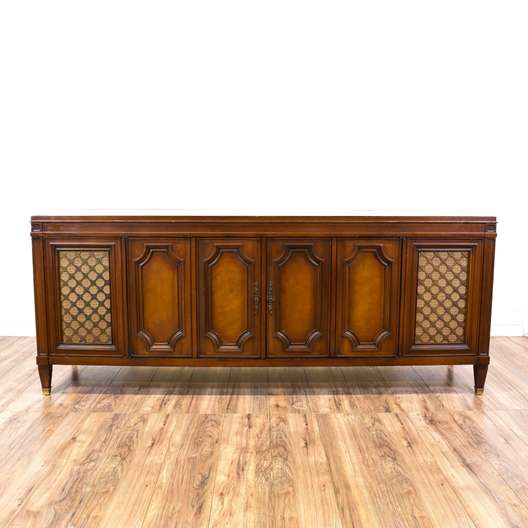 Mid Century Carved Cherry Record Cabinet Console
