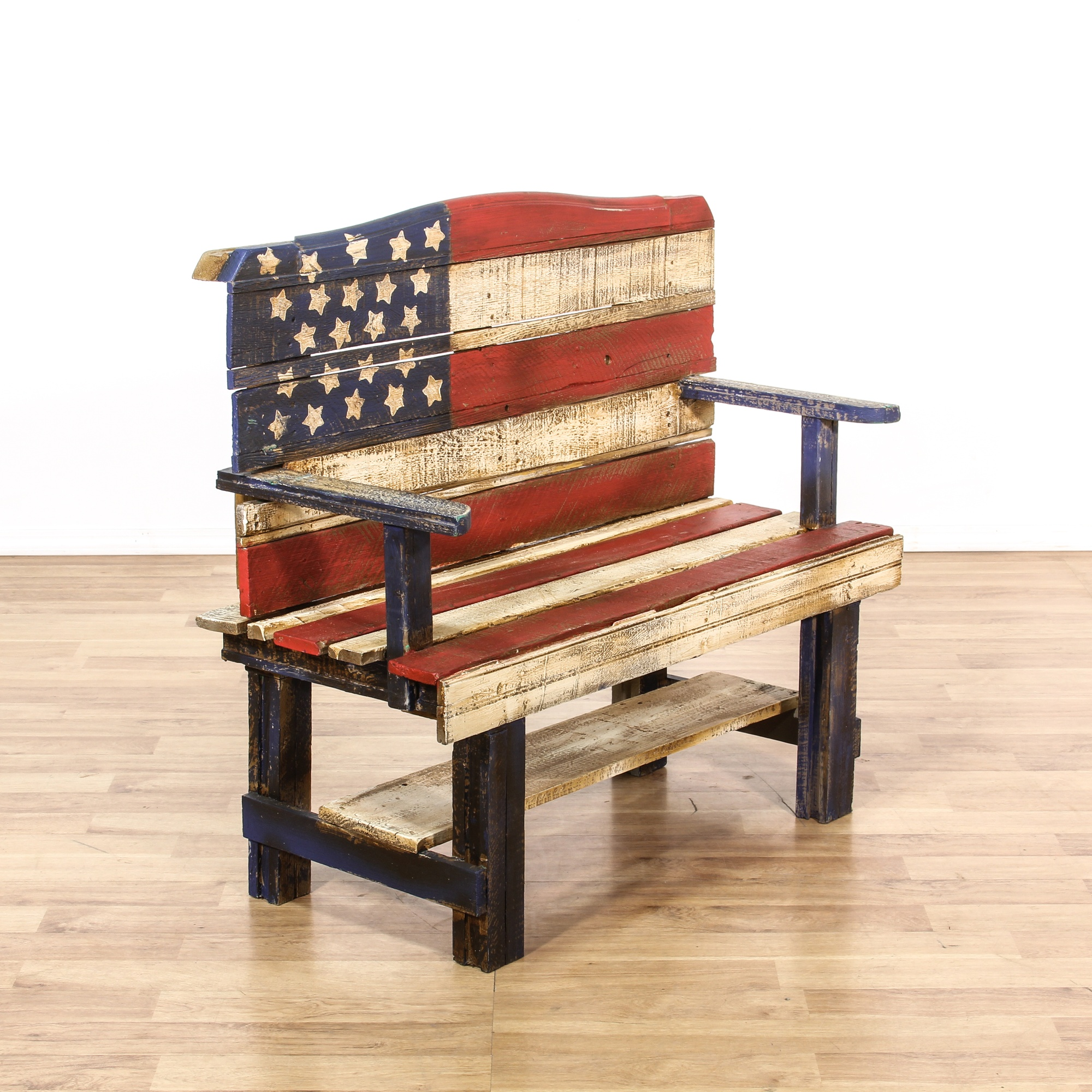 Rustic Wood Painted American Flag Bench Loveseat Vintage