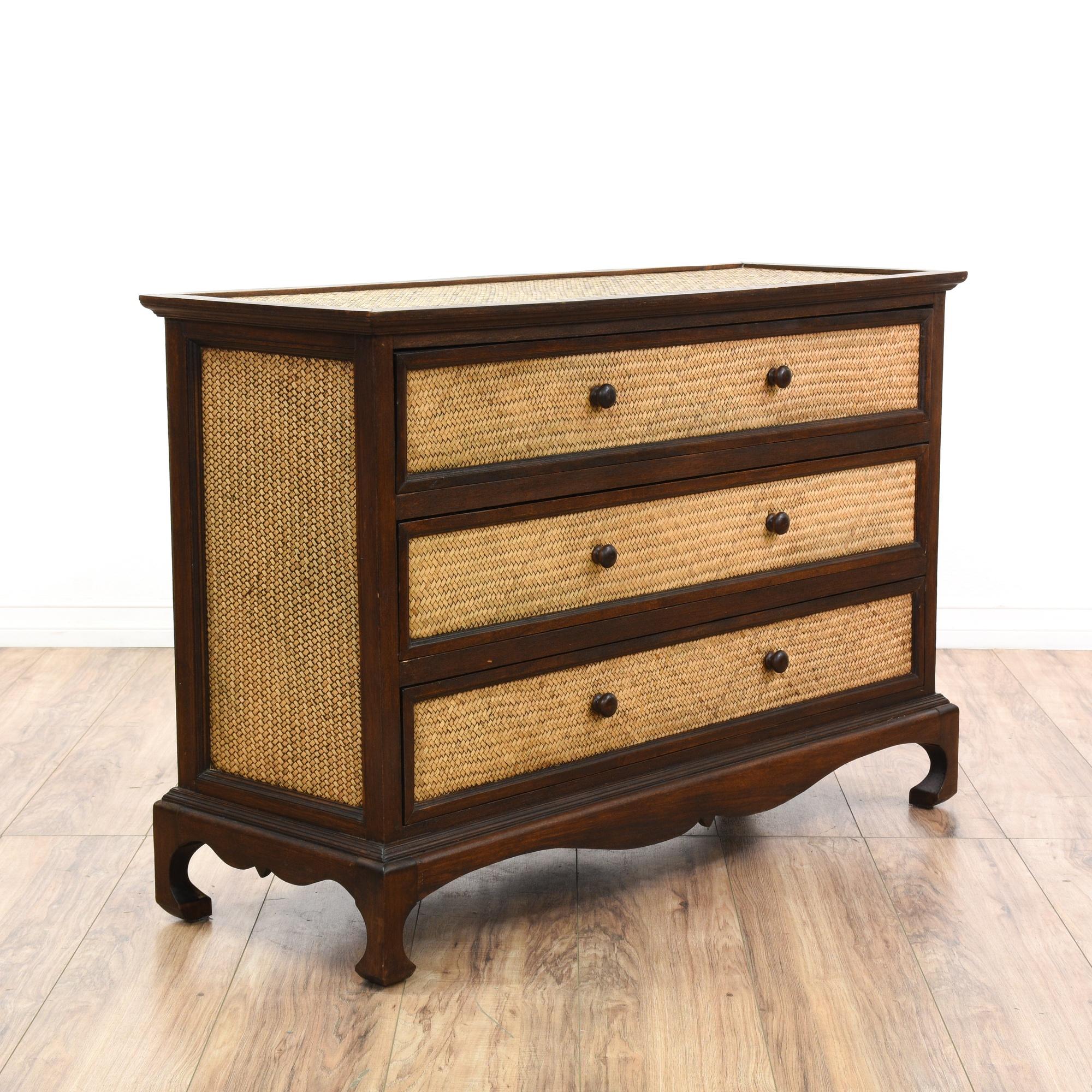 Carved Wood Rattan Chest Of Drawers Loveseat Vintage Furniture San Diego Amp Los Angeles