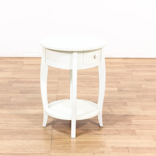 Small White Round 1 Drawer 2 Tier End Table