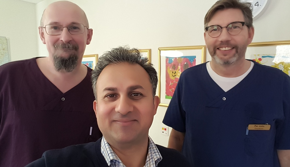Physicians Anders Rehnström and Per Julin, Stora Sköndals ME/CFS clinic in the back;  Dr. Shahram Lavasani, CEO and founder of ImmuneBiotech Medical AB, in the front.
