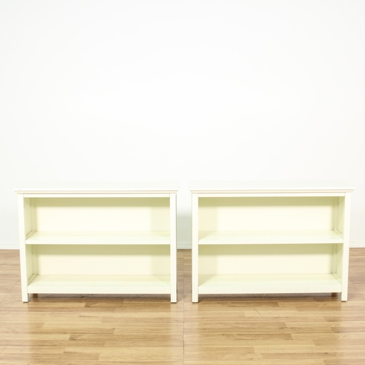 Pair Of White Low Bookcases Loveseat Vintage Furniture Los