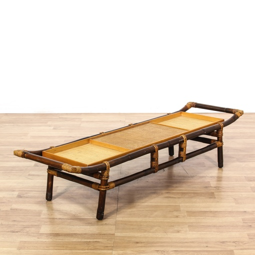 Bamboo Woven Coffee Table Loveseat Vintage Furniture San Diego Los Angeles