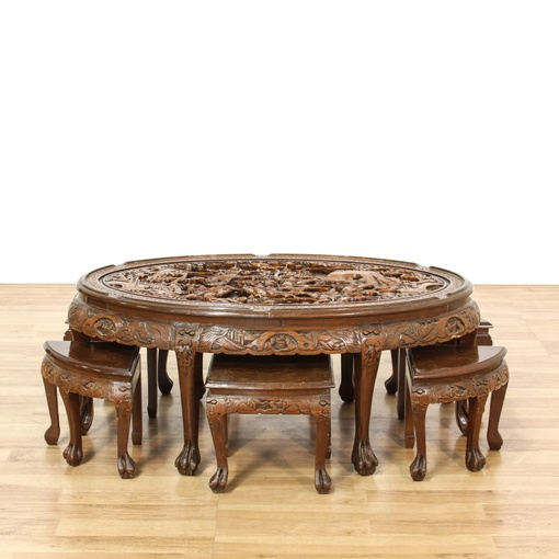Oriental Oval Coffee Table: Carved Chinese Chow Set W/ Table & 6 Stools