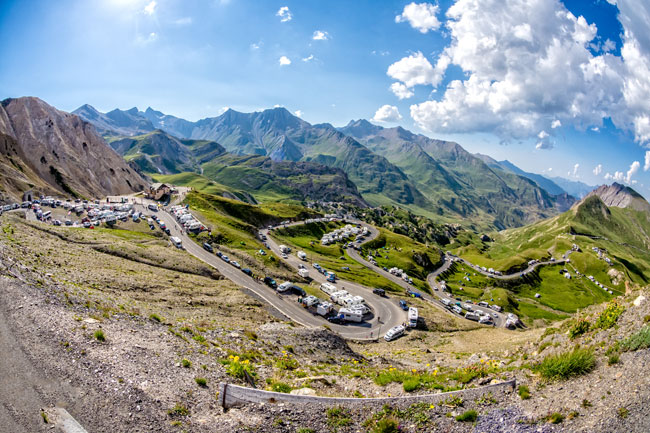 The high point of the Tour de France, the Col du Galibier (2,640m)