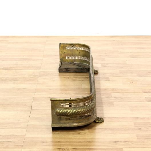 Antique Brass Fireplace Fender On Claw Feet Loveseat Vintage