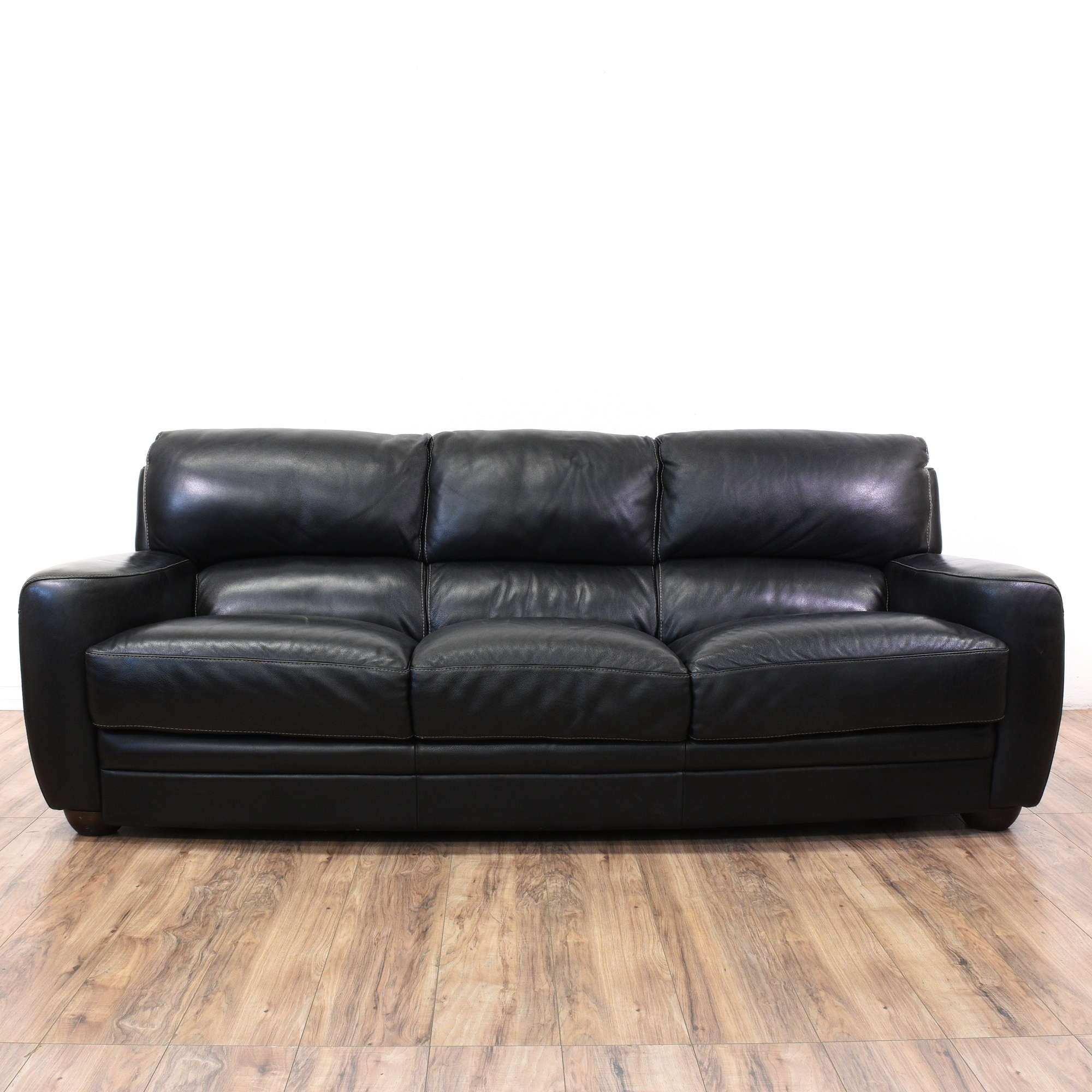 Black Leather Sofitalia Cushion Sofa Loveseat Vintage Furniture San Go