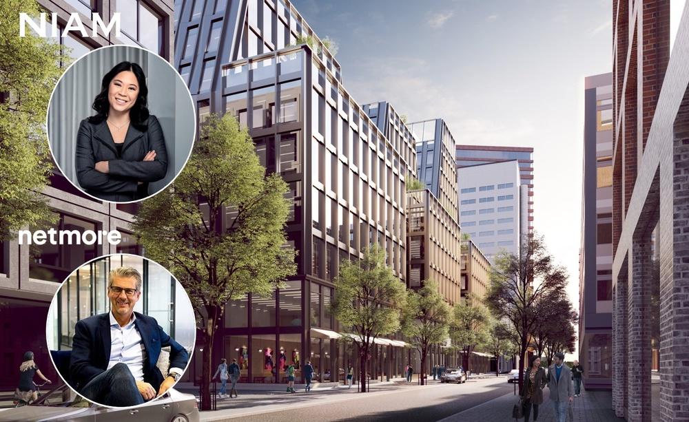 Jennifer Andersson, Managing Partner Niam & Ove Anebygd, CEO Netmore. I bakgrunden: Stockholm Harbor Front Development