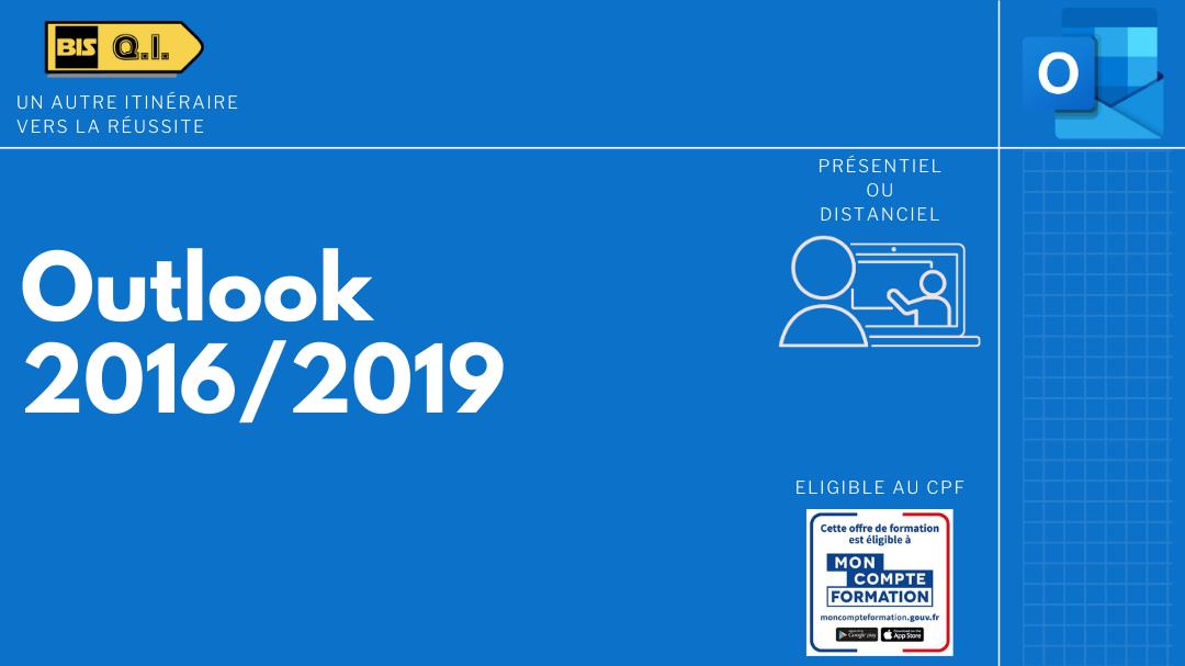 Représentation de la formation : Outlook 2016/2019