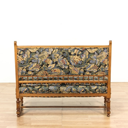 Victorian wood carved frame floral loveseat loveseat for Victorian furniture los angeles