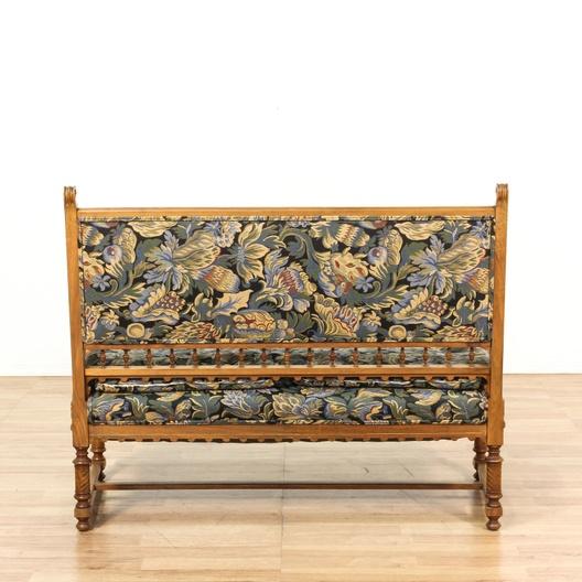Victorian Wood Carved Frame Floral Loveseat Loveseat