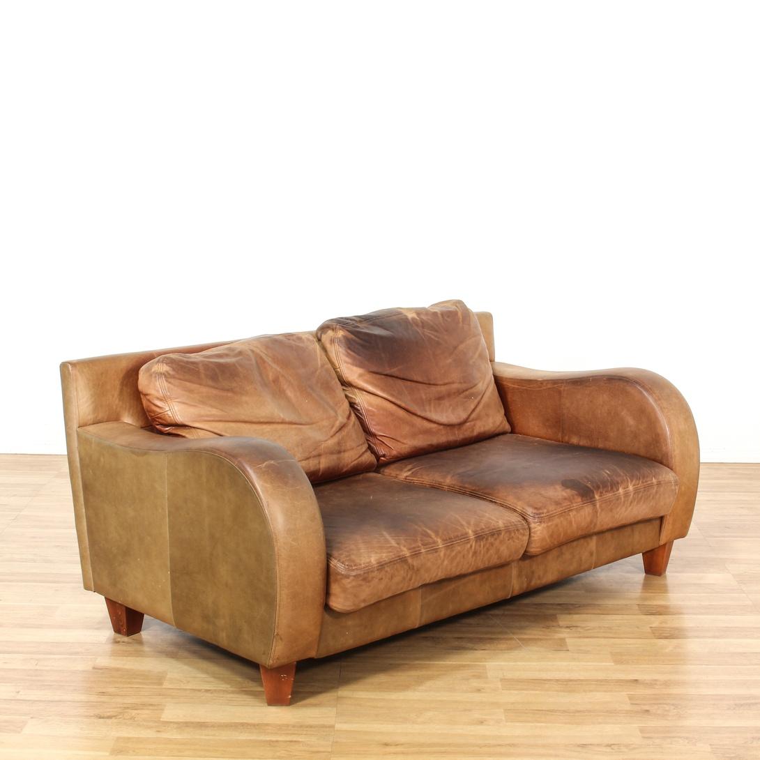 Brown Leather Sofa W Curved Arm Rests Loveseat Vintage Furniture San Diego Los Angeles