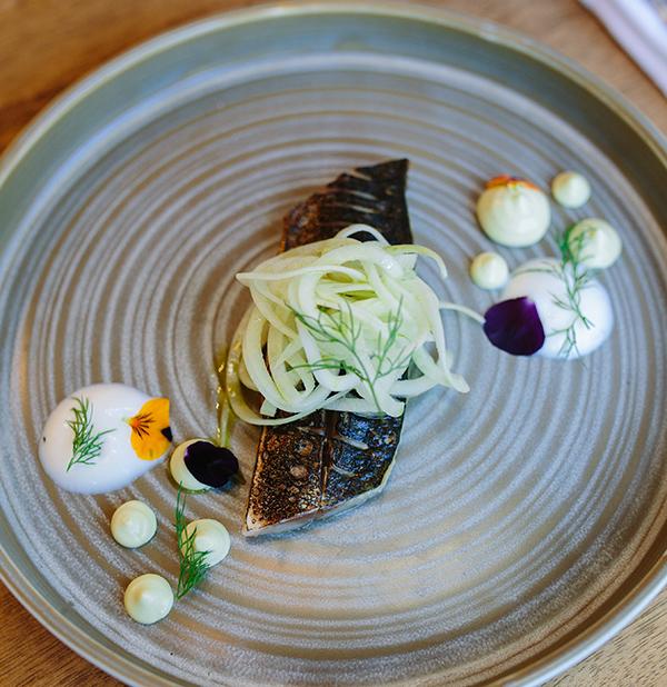 Line-caught cured Cornish mackerel, cucumber, 'nduja, pork crackling