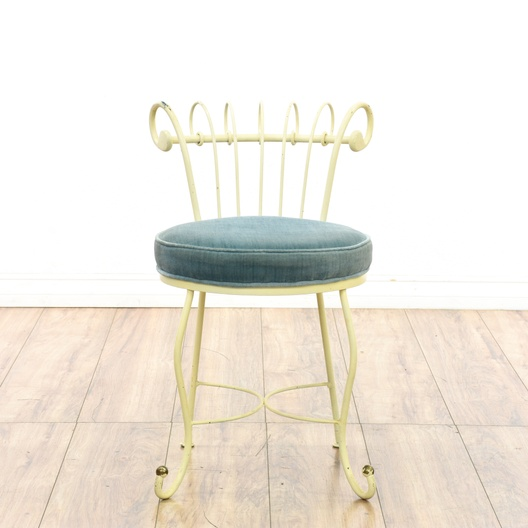 Prime White Wrought Iron Blue Velvet Vanity Stool Loveseat Caraccident5 Cool Chair Designs And Ideas Caraccident5Info