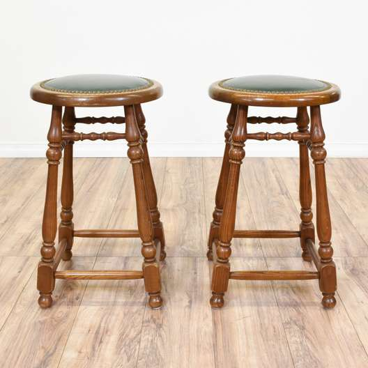 Pair of Spindle Wood Barstools w/ Green Vinyl