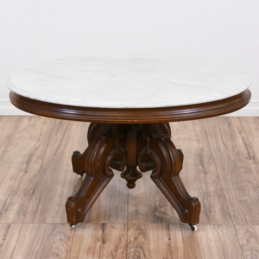 Rolling Carved Round Marble Top Coffee Table