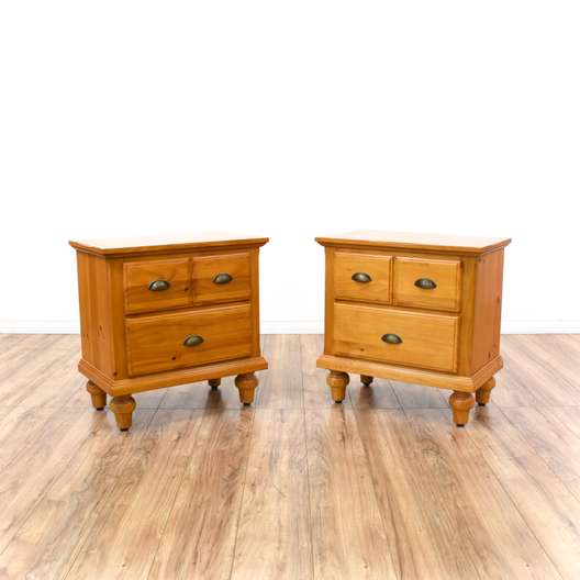 Pair of Country Chic Pine Nightstands