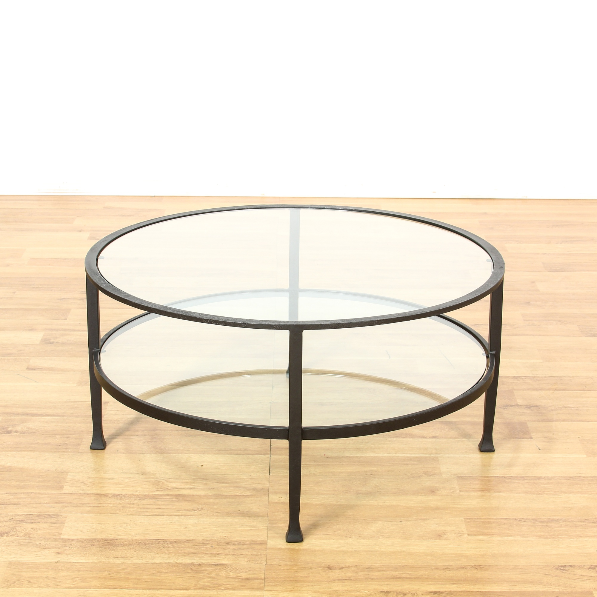 Round 2 Tier Iron Base Glass Coffee Table