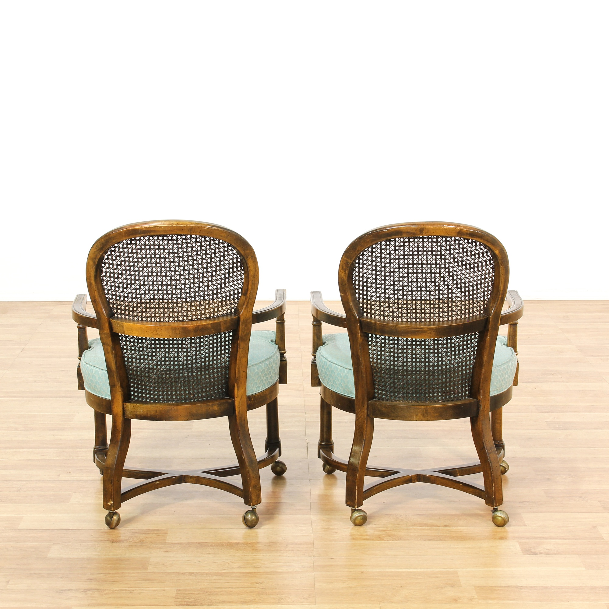 set of 4 rolling cane back dining chairs loveseat vintage furniture