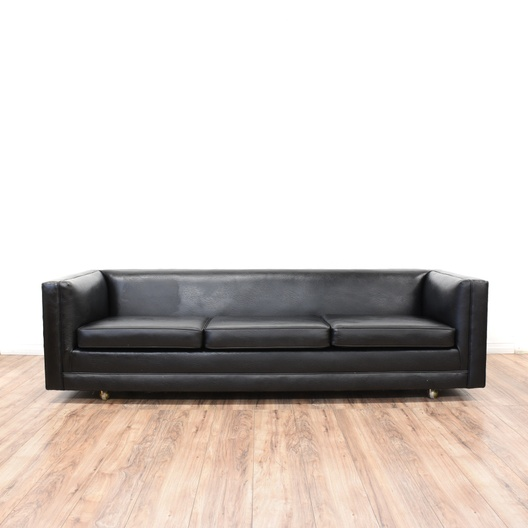 Mid Century Modern Black Vinyl Sofa | Loveseat Vintage Furniture ...