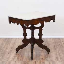 Carved Wood Eastlake Marble Top Table